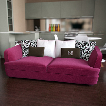 Modern pink double seats sofa 3D Model