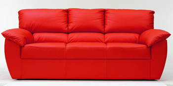 Modern red three seats fabric sofa 3D Model