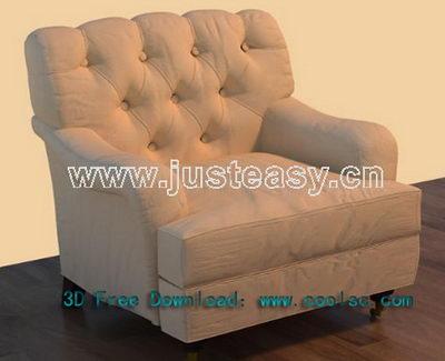 Modern retro sofa 3D model (including materials)
