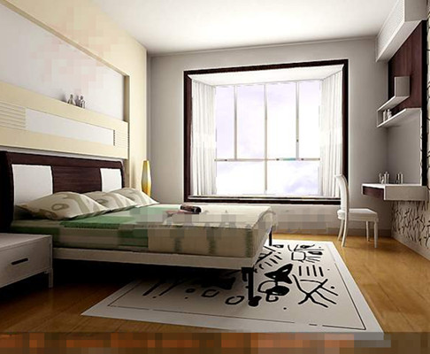 Modern simple and elegant white bedroom 3D Model