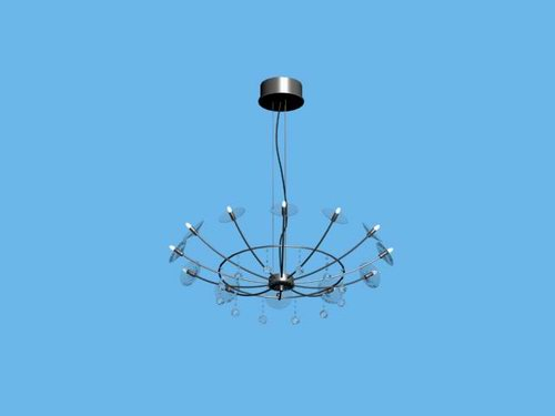 Modern simple iron basket chandelier 3D Model