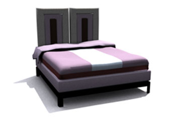 Modern simple personality double bed 3D Model