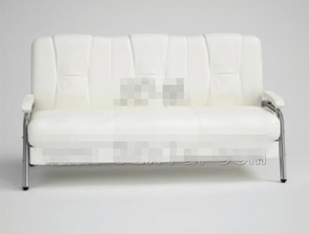 Modern simple pure white three seats sofa 3D Model