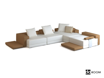 Modern simple style corner sofa model 3D Model