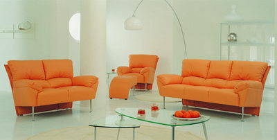 Modern sofa 3D model over orange