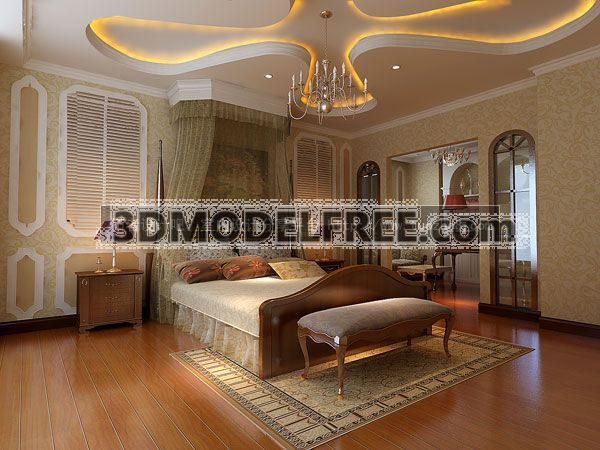 Modern Style Bedroom_ Americanism 3D Model