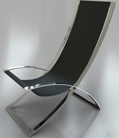 Modern Style Furniture: Silver Lounge Leather Armchair 3D Model