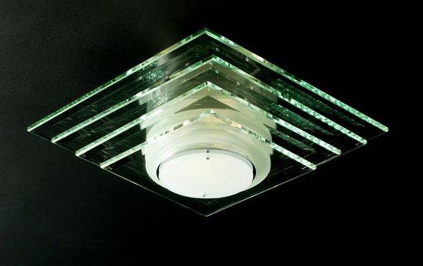 Modern Style Rectangle Glass Ceiling Lamp 3D Model