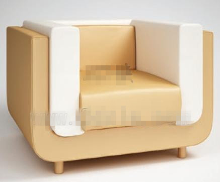 Modern style white single sofa 3D Model