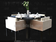 Modern stylish square dining table combination 3D Model