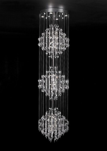 Modern three layers crystal chandelier 3D Model