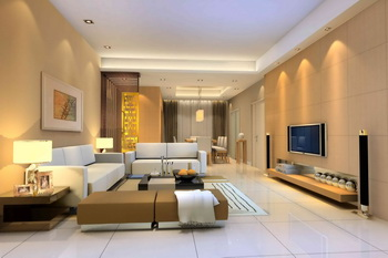 Modern warm color spacious living room 3D Model