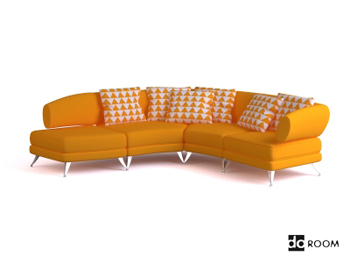 Modern warm yellow three seats sofa 3D Model