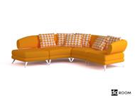 Modern warm yellow three seats sofa 3D Model