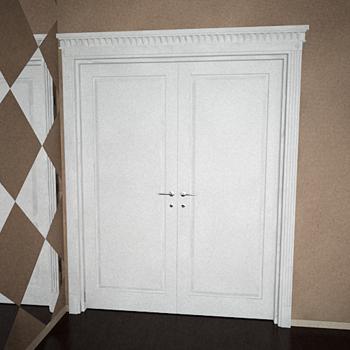 Modern white double doors 3D Model