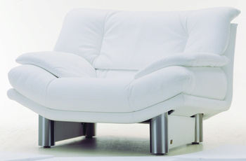 Modern White Single Metal base fabric sofa 3D Model