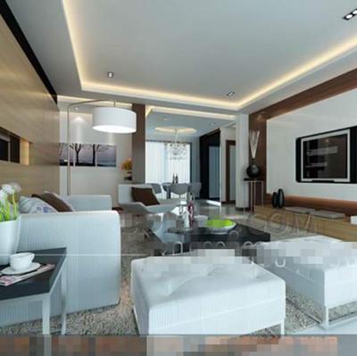 Modern white stylish living room 3D Model