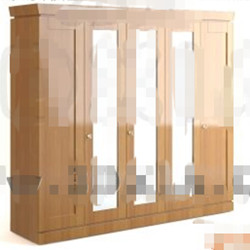 Modern wood color wardrobe 3D Model