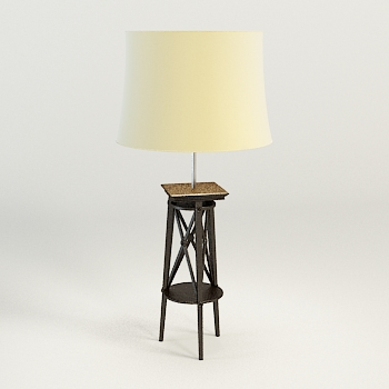 Modern wooden base floor lamp 3D Model