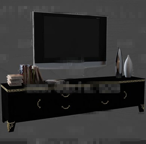 Modern wooden black TV cabinet 3D Model