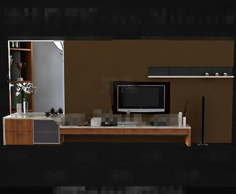 Modern wooden brown yellow TV cabinet 3D Model
