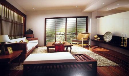 Modern Wooden Retro living room (including materials) 3D Model