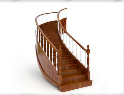 Modern wooden stairs 3D Model
