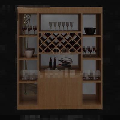 Modern wooden wine cabinet 3D Model