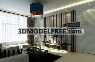 Modernism Living room Decoration Design 3D Model