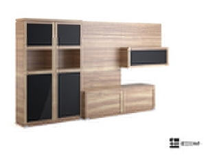 Multi-function wood color TV cabinet 3D Model