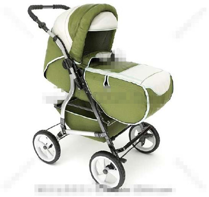 Multi-functional green baby trolley bed 3D Model