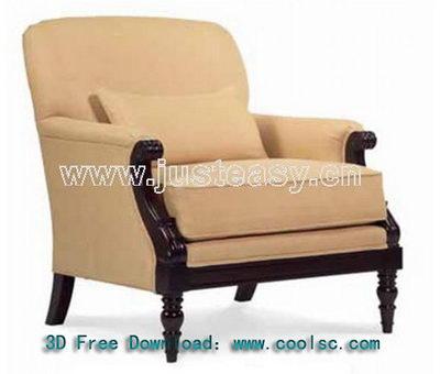 Neo-classical fabric sofa 3D model (including materials)