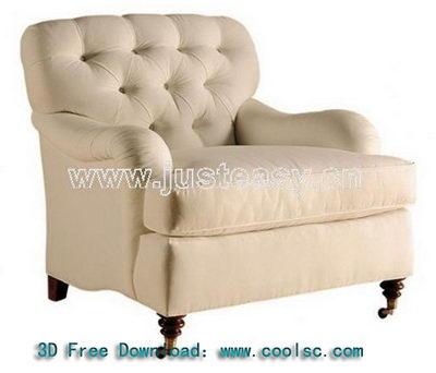 Neo-classical fabric sofa 3D model Ruanmian (including materials)