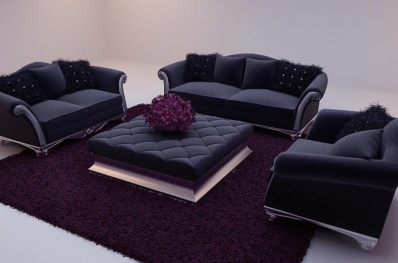 New Baroque sofa 3D model (including materials)