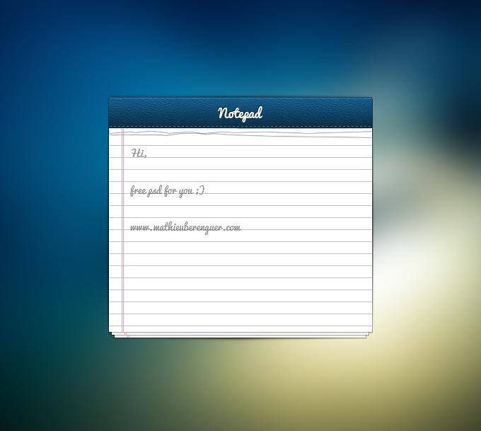 Notepad UI PSD