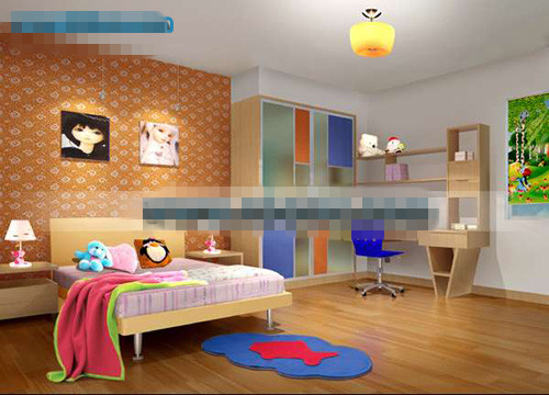 Orange lovely childrens bedroom 3d model