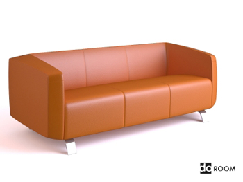 Pale orange comfortable three seats sofa 3D Model