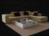 Pale yellow sofa and tea table combination 3D Model
