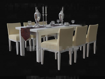 Pale yellow wooden table and chairs combination 3D Model