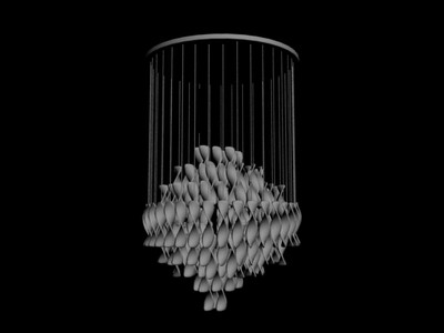 Pendant Lamp Model: Sphere Crystal Chandelier Petal Beads 3D Model