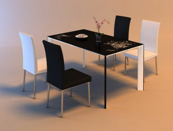 Personalized black and white kitchen furniture 3D Model