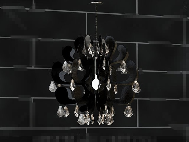 Personalized Black Crystal pendant lamp 3D Model