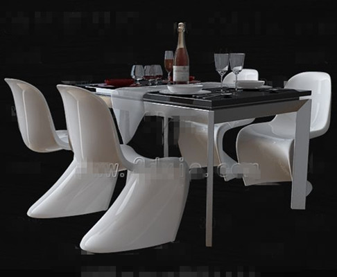 Personalized white dinette combination 3D Model