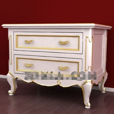 Phnom Penh white drawers bedside cabinet 3D Model