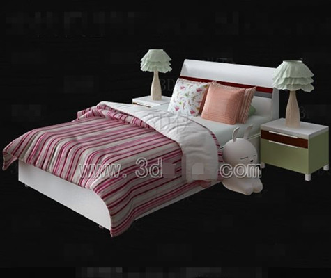 Pink and white bed linen Children bed 3D Model