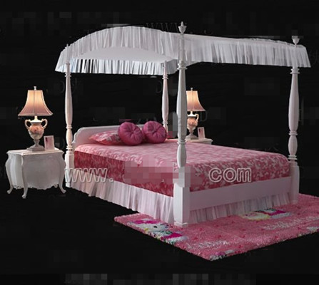 Pink Hello Kitty theme princess bed 3D Model