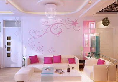 Pink Living Room 3D Model