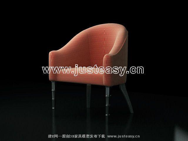 Pink sofa 3D model (including materials)