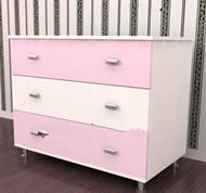 Pink white spliced bedside cabinet 3D Model