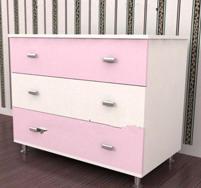 Pink white spliced bedside cabinet 3D Model
